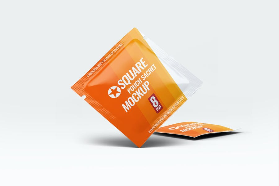 Square Sachet Branding Mockups