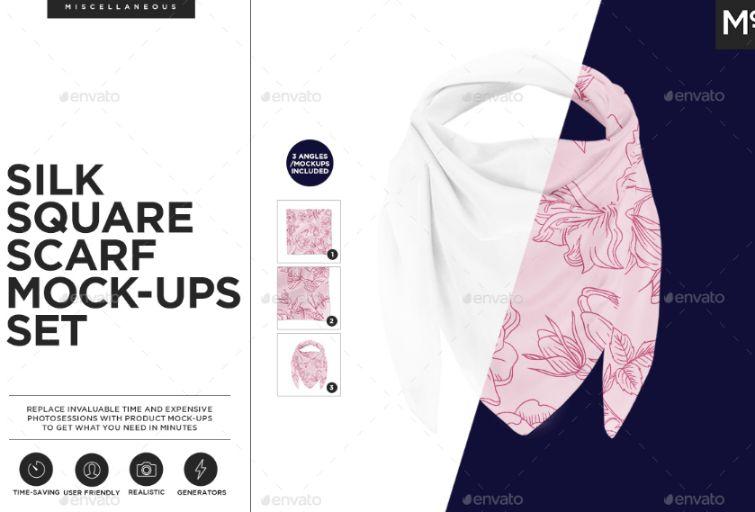 Square Silk Scarf Mockups