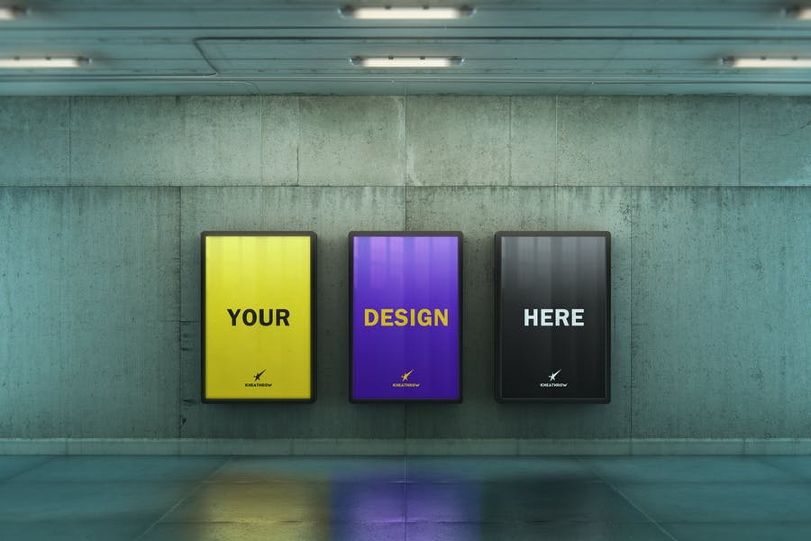 Subway Light Box Poster Ad Mockup