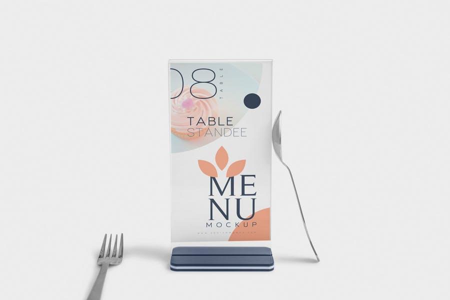 Table Standee Menu Mockup PSD