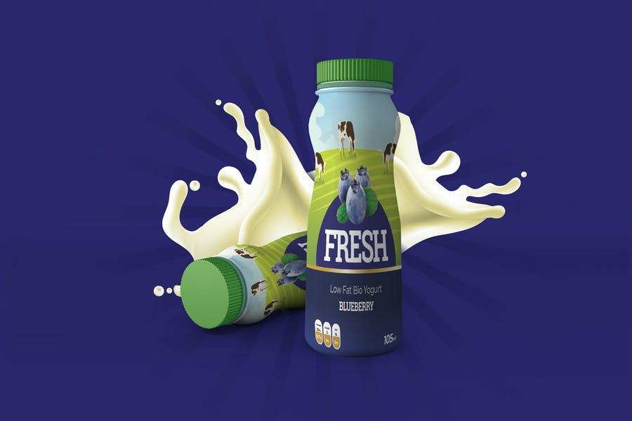 Yogurt Bottle Label Mockup PSD