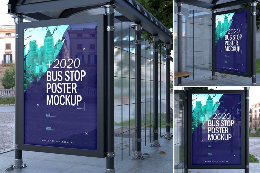 3 Bus Stop Poster Mockup