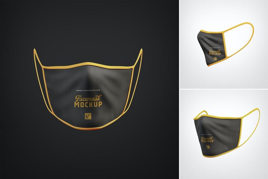 3 Realistic Anti Pollution Face Masks Mockup