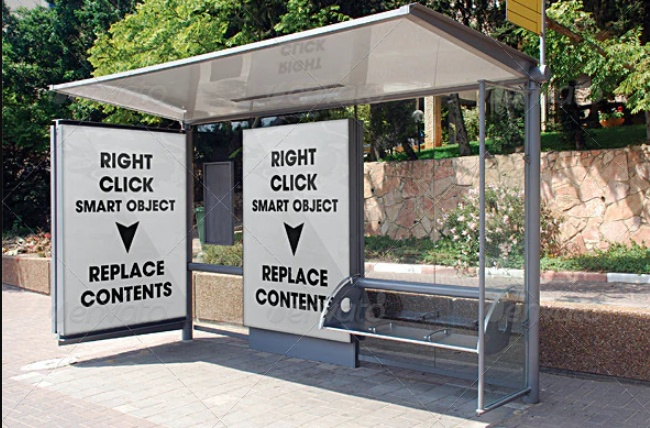 3D Bus Stop Flyer Mockup PSD