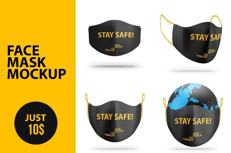 Bundle of Face Mask Mockup PSD