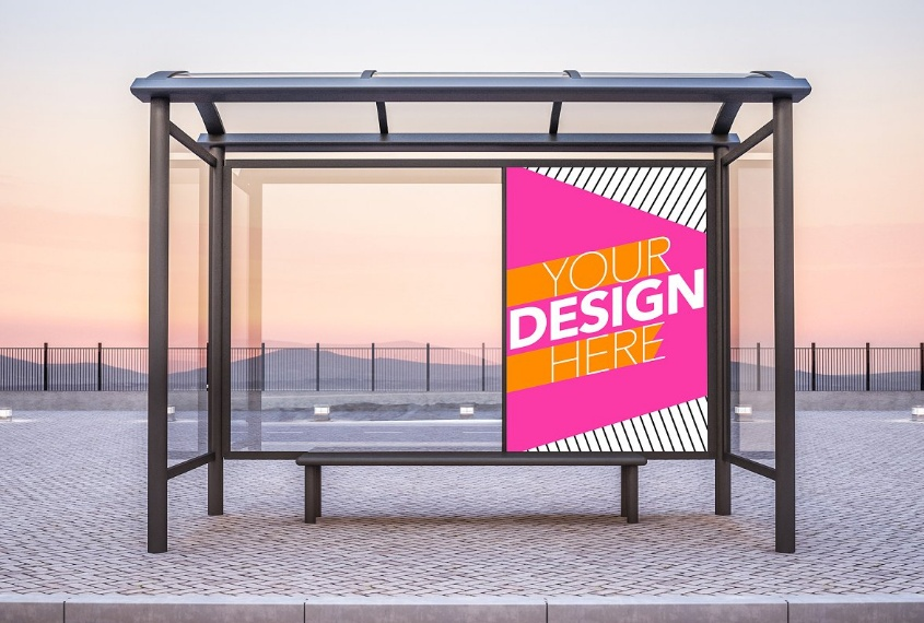 Bus Stop Advertising Mockup PSD