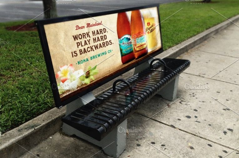 Bus Stop Bench Ad Mockup