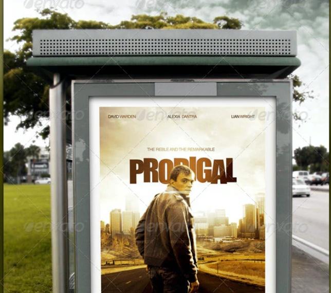 Bus Stop Sign Mockup PSD