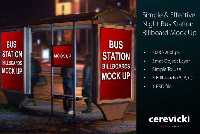 Bus Stop at Night Mockup PSD