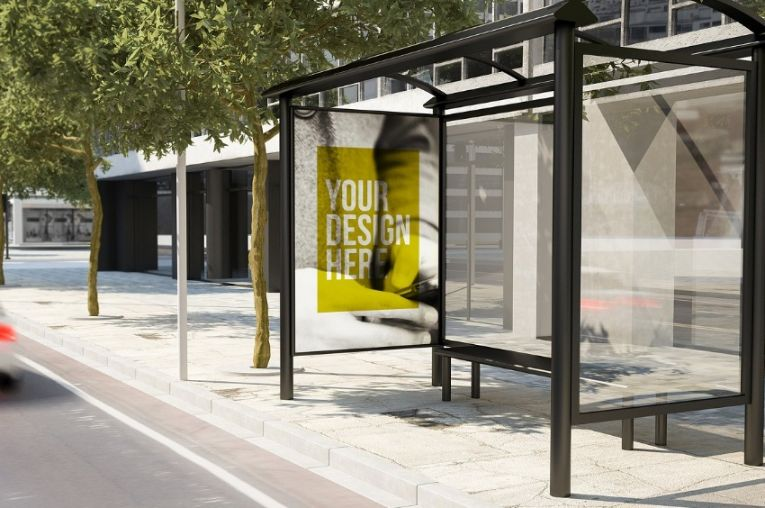 City Bus Stop Ad Mockup PSD
