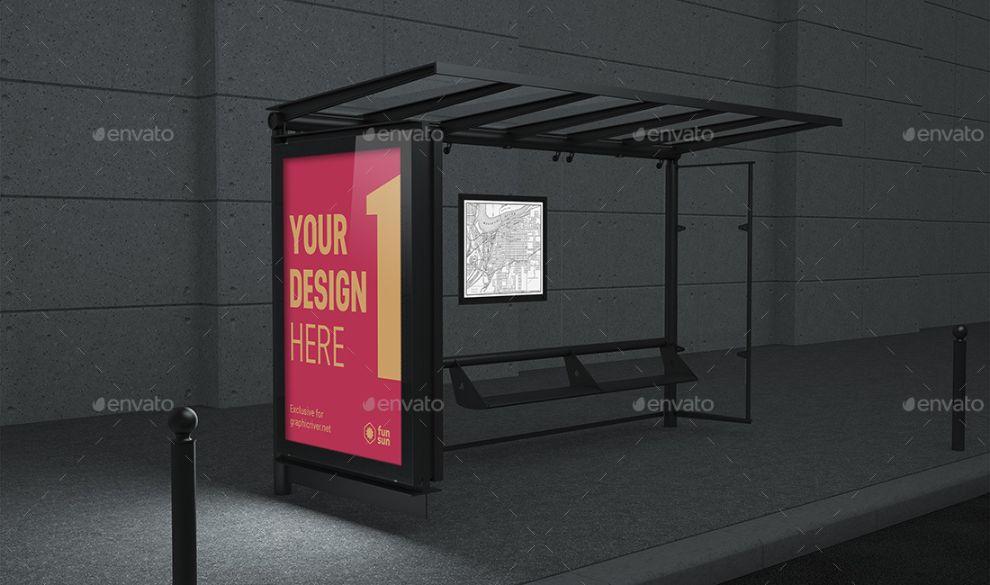 High Resolution Bus Stop Mockup PSD