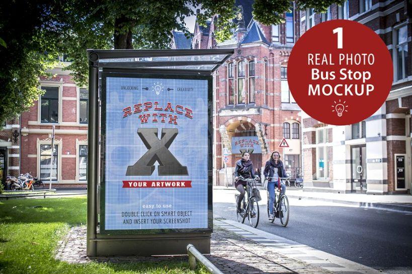Photo Realistic Bus Stop Ad Mockup