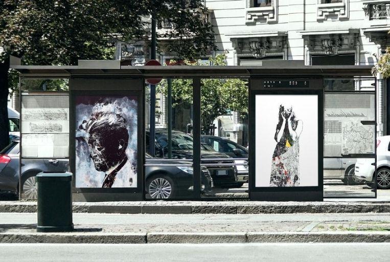 Realistic Bus Stop Mockup PSD