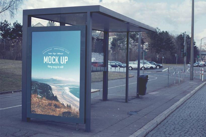 Retro Bus Stop Ad Mockup PSD