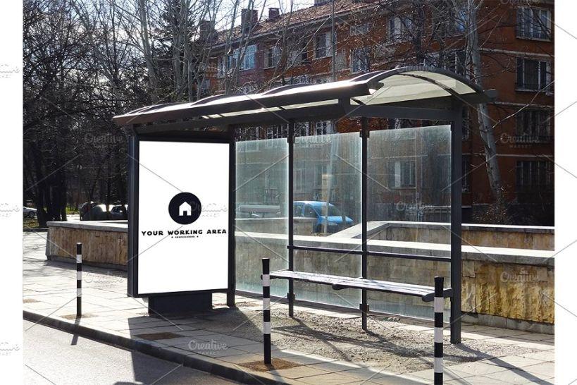 Urban Bus Stop Billboard Mockup PSD