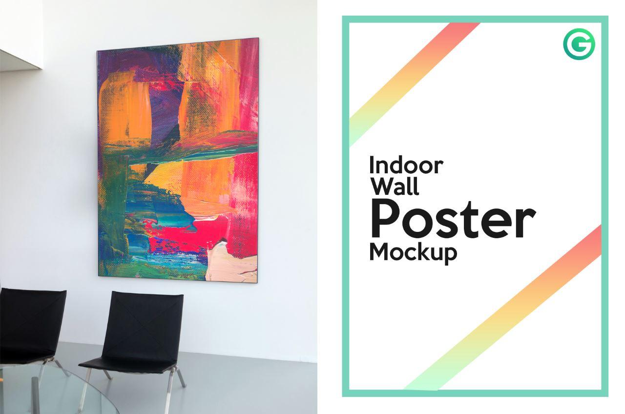 Indoor Wall Poster Mockup PSD