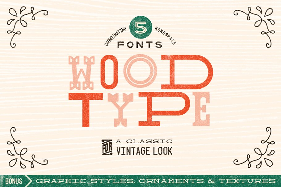 Classic Wood Type Font Collection