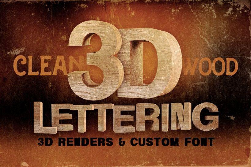 Clean 3D wooden Lettering Font