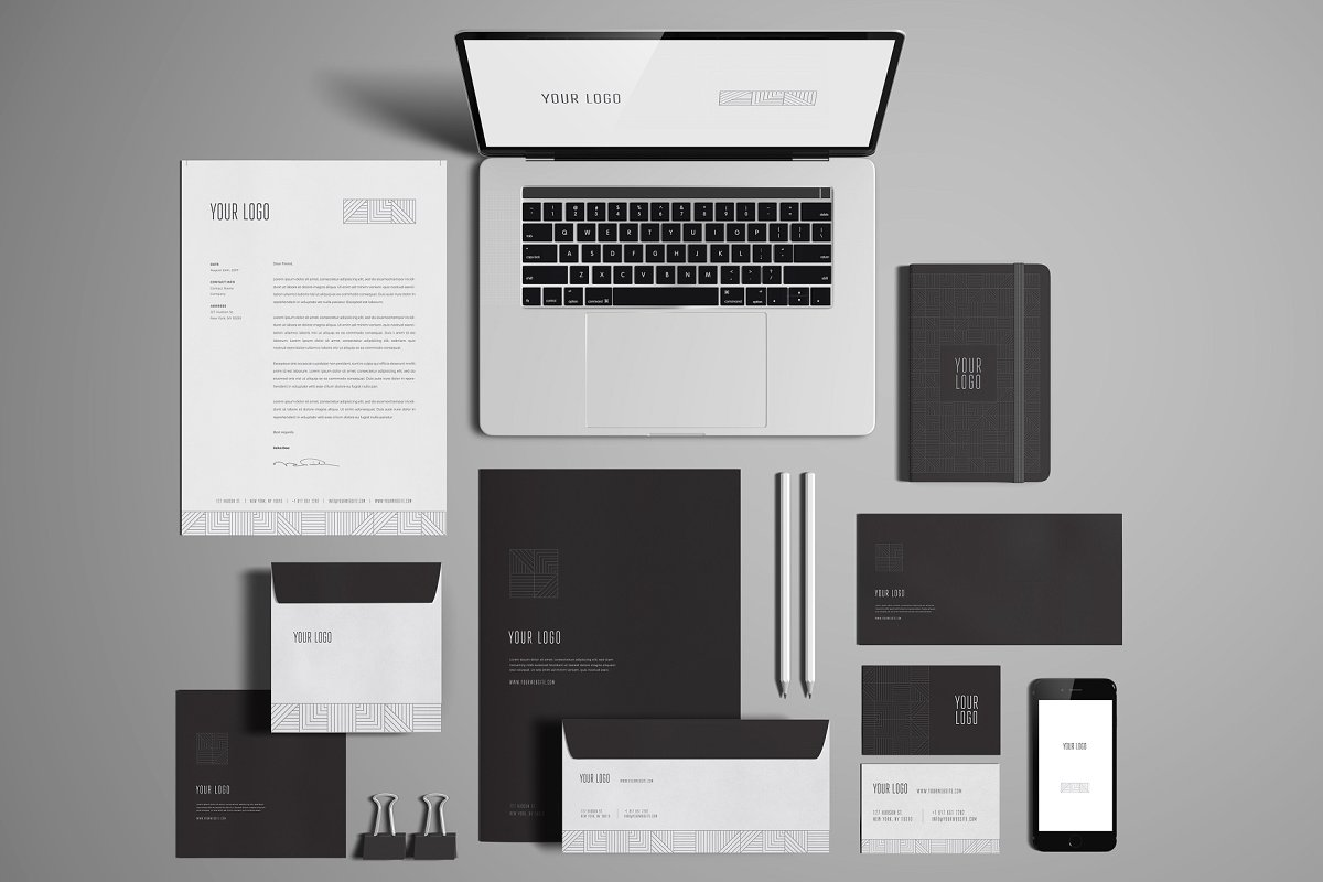 Corporate Essential Stationary Mockup PSD
