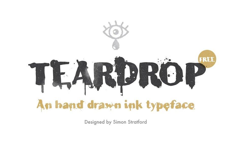 Distressed Tear Drop Font