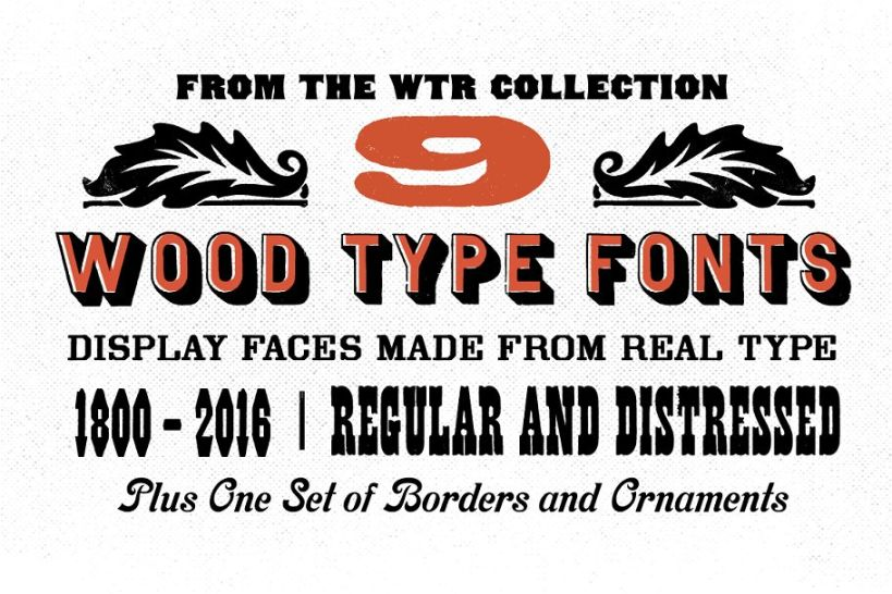 Distressed Wood Type Font Bundle
