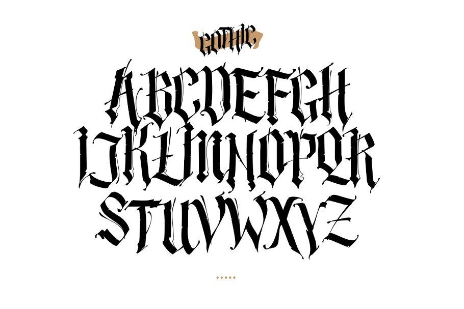 Gothic Aplhabet Vector Fonts