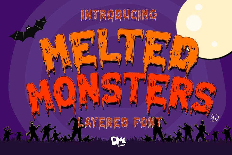 Halloween Melted Layered Font