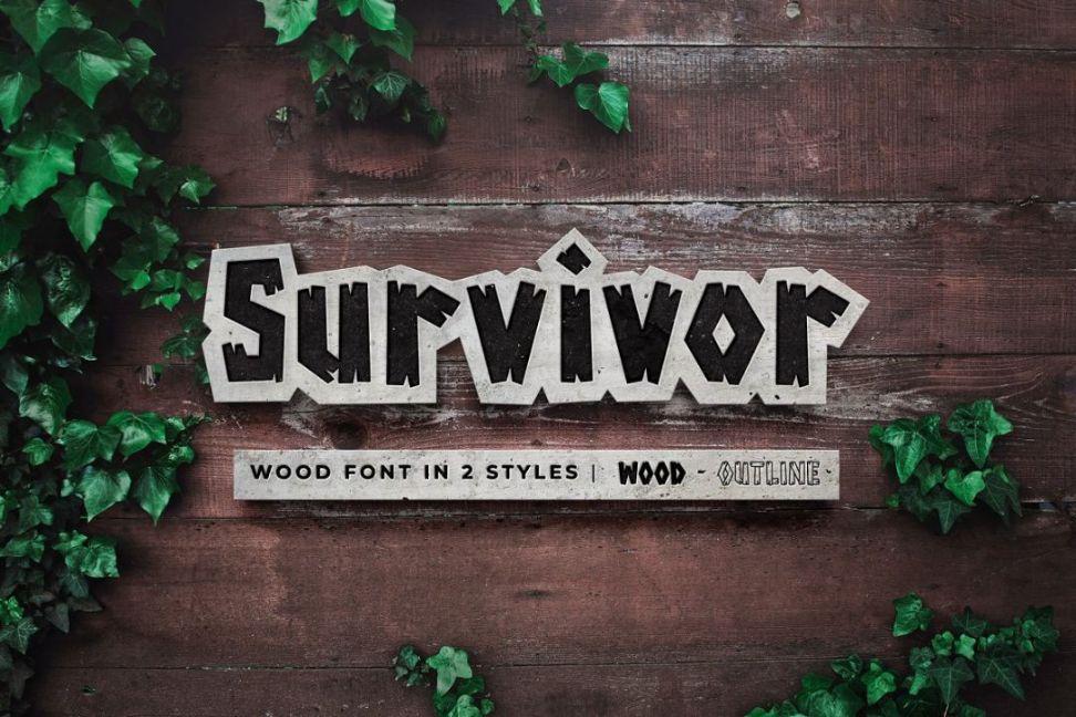 Outline Wood Font Typeface