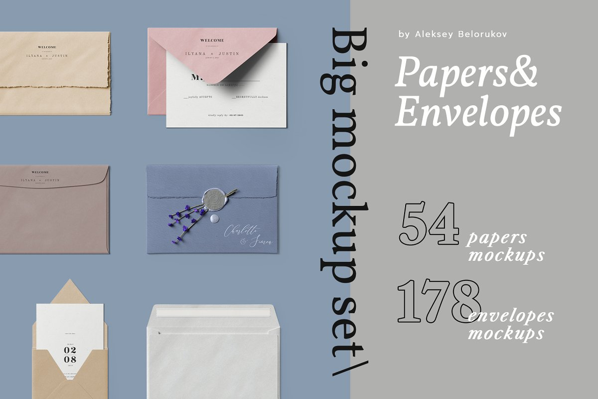 Papers and Envelopes Mockup PSD