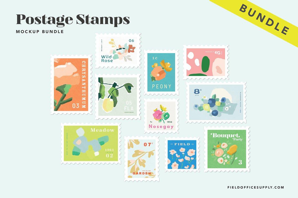 Postage Stamps Mockup PSD Bundle