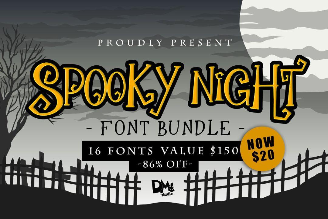 Spooky Halloween Night Font Bundle