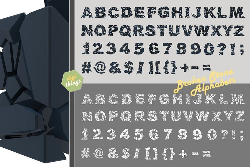 Cracked Stone Alphabets Font