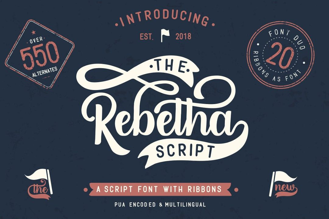 Ribbon Fonts with Swashes Fonts