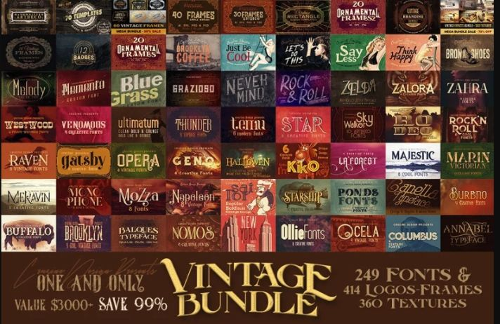 249 Retro Fonts Bundle Pack