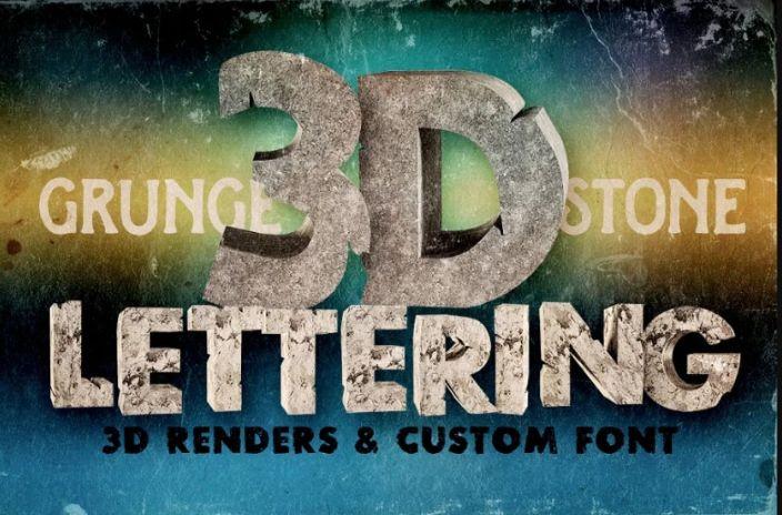 3D Concrete Lettering Fonts