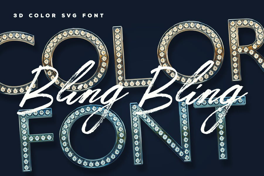 3D Diamond Display Font