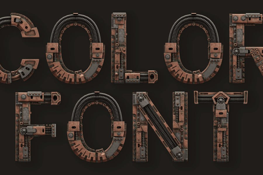 3D Industrial Fonts