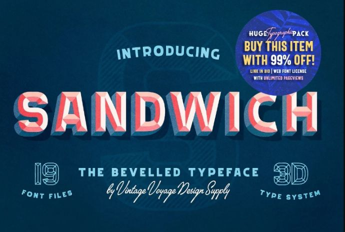 3D Styled Sandwich Fonts