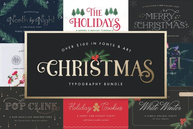 ChristmasTypography Font Bundle