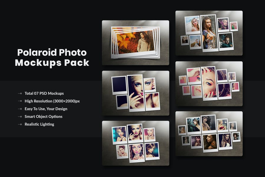 Creative Polaroid Photo Mockups PSD
