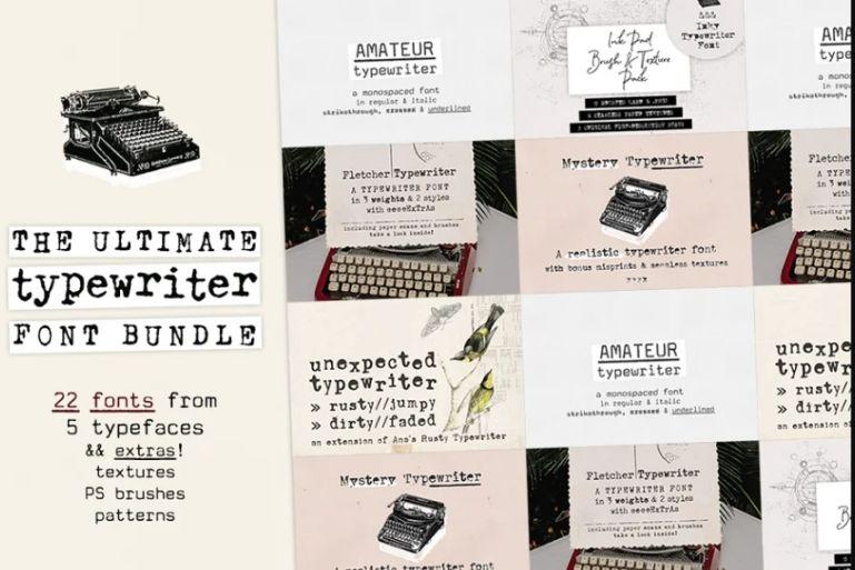 Mega Typewriter Fonts Bundle