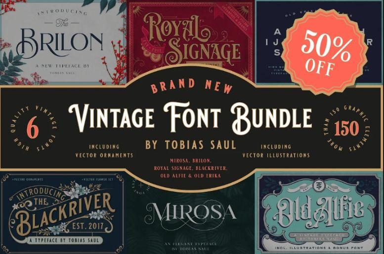 Mega Vintage Font Bundle