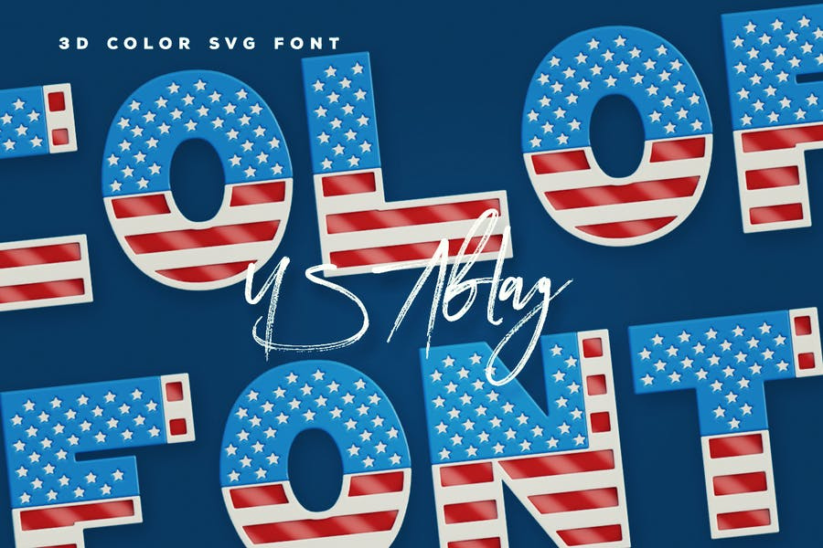 Realistic 3D Flag Style Fonts