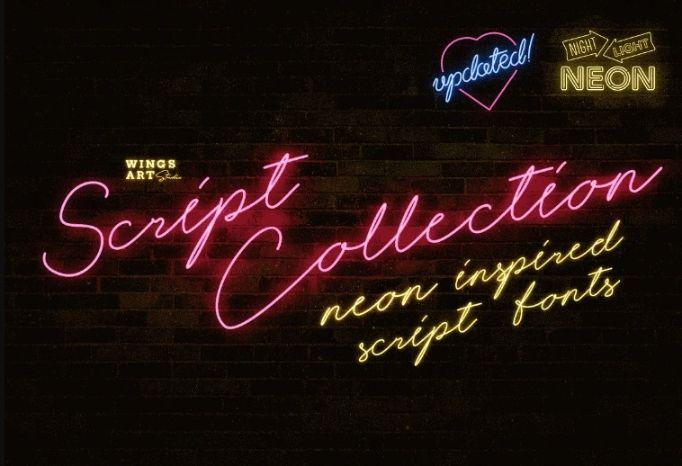 Realistic Neon Script Fonts