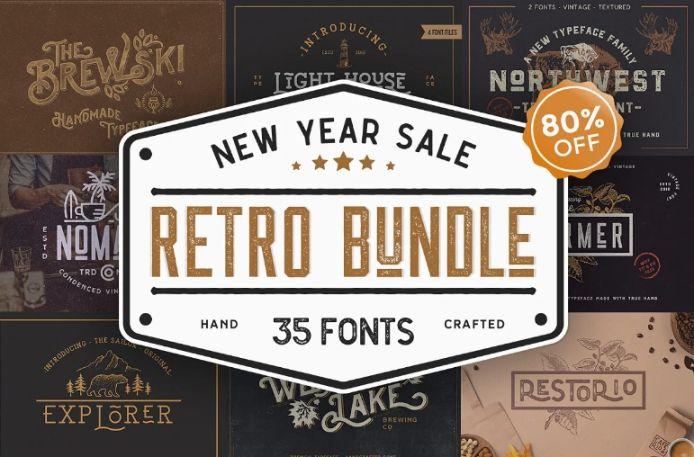 Retro Fonts Collection Bundle