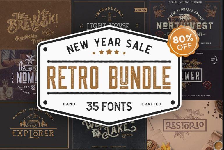 Retro and Vintage Font Bundle