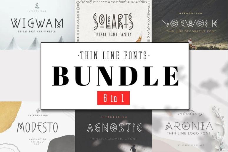 Thin Fonts Mega Bundle