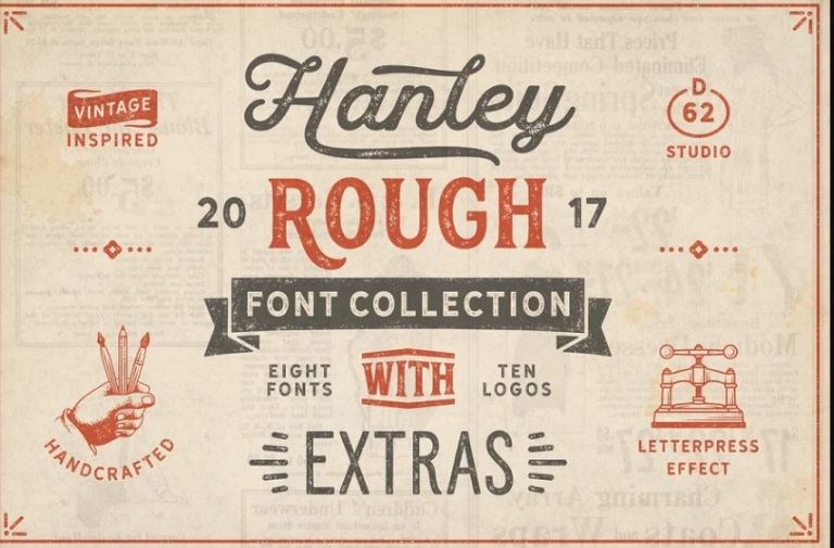 Vintage Inspired Rough Font Collection