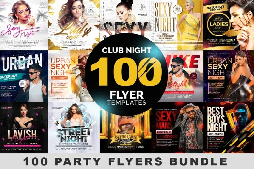 100 Club Night Flyer Templates Bundle