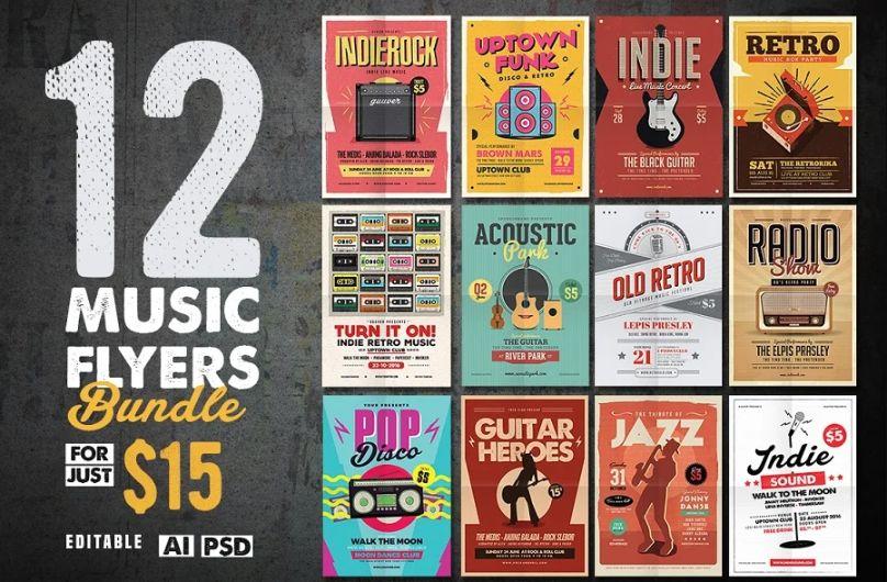 12 Indie Music Flyer Bundle